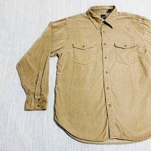 Gap Men's Tan Large Suede 100% Cotton LS Button
